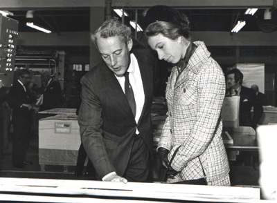 Robert Bartholomew shows HRH The Princess Royal some printing proofs during one of a several royal visits in the 1970's