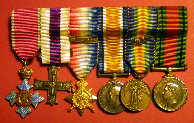 Commander of the British Empire (C.B.E.), Military Cross, 1914-15 Star, British War Medal 1914-1918, Médaille Interalliée (France), 1939-45 Defence Medal