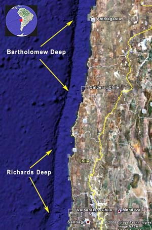 Map showing location of Bartholomew Deep off the coast of Chile